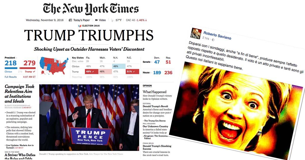 """Il New York Times usa """"shocking"""" nel suo titolo, Roberto Saviano sintetizza il fallimento dei sondaggi."""